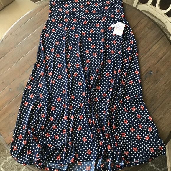 LuLaRoe Dresses & Skirts - LuLaRoe 3XL Navy blue maxi skirt polka dots & bows